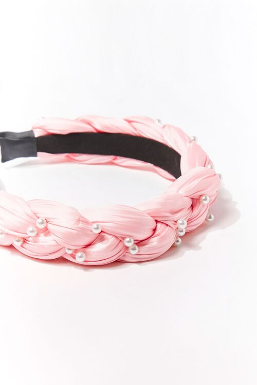BLUSH/CREAM Braided Faux Pearl Headband, image 3