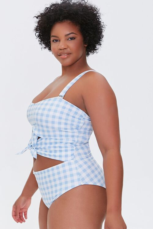 Plus Size Gingham Bow One-Piece Swimsuit, image 2