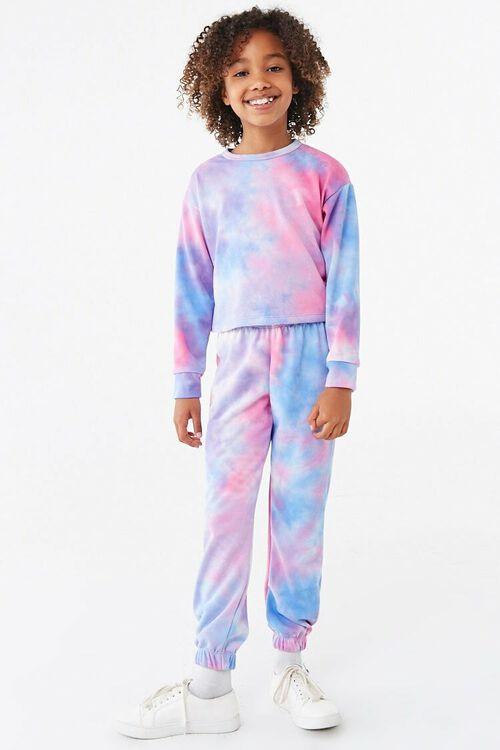 Zerototens Kids Tie-Dyed Print Hoodie Sweatshirt 7-14 Years Old Girl Long Sleeve T-Shirt Pullover Casual Cotton Colorblock Tops Coat