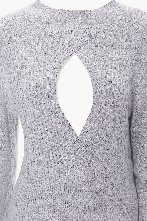 Ribbed Surplice Cutout Sweater, image 3