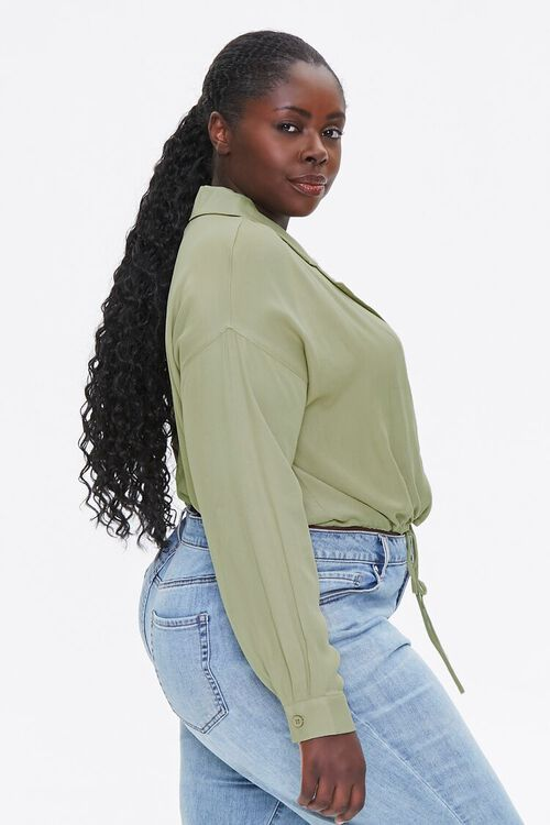 Plus Size Drawstring-Hem Shirt, image 2