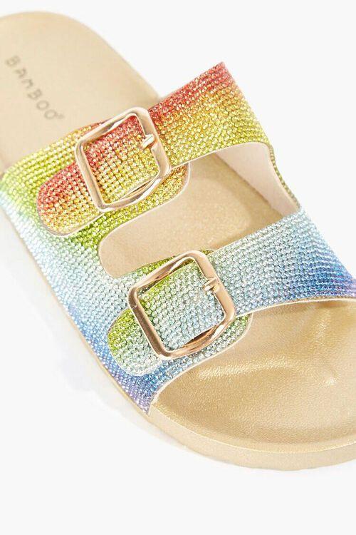 GOLD/MULTI Rainbow Rhinestone Sandals, image 3