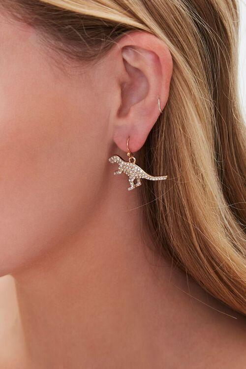 Rhinestone Dinosaur Pendant Drop Earrings, image 1