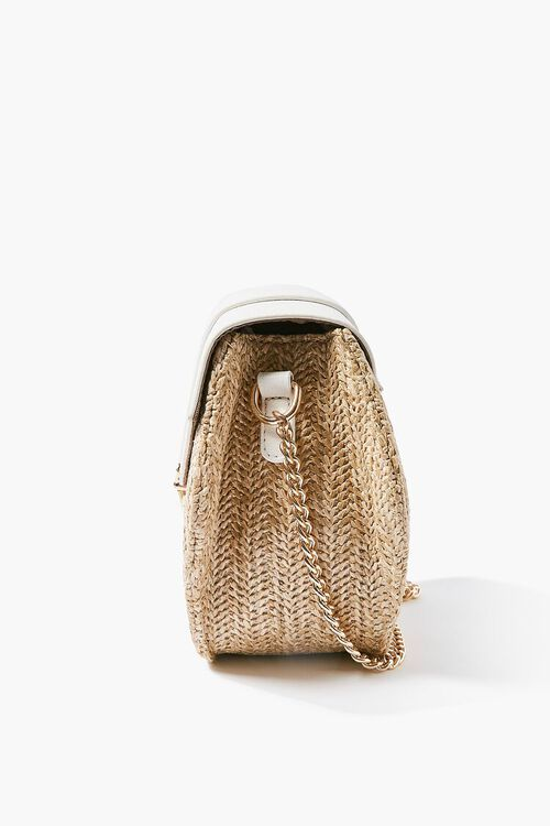 WHITE Basketwoven Hexagon Crossbody Bag, image 3