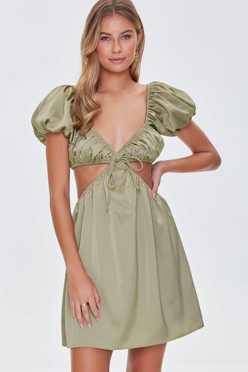 SAGE Satin Puff Sleeve Mini Dress, image 2
