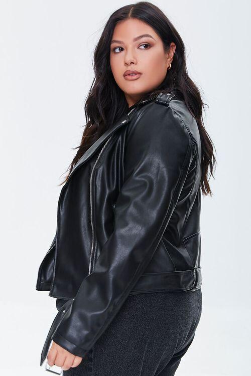 BLACK Plus Size Faux Leather Moto Jacket, image 2