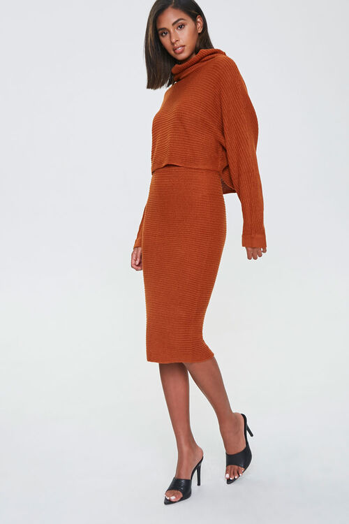 Sweater-Knit Top & Skirt Set, image 1