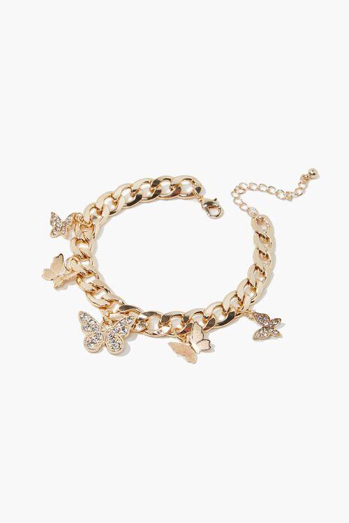 Rhinestone Butterfly Charm Bracelet, image 1
