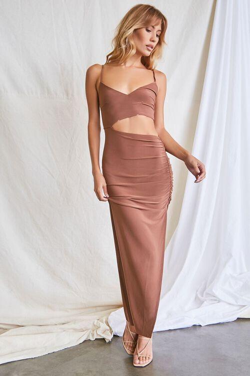 MOCHA Ruched Cutout Cami Maxi Dress, image 5
