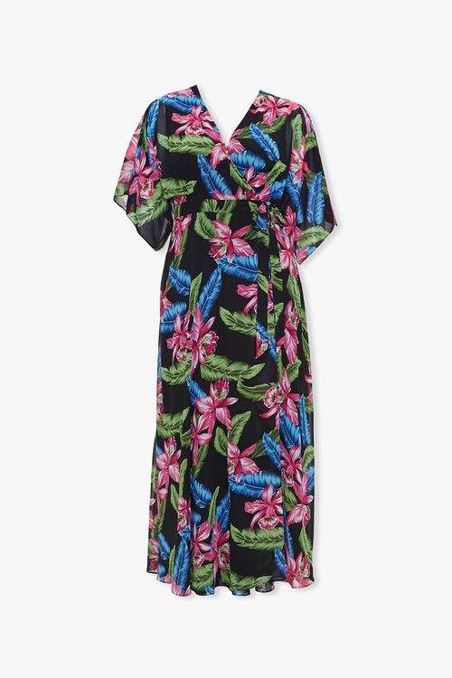 Plus Size Tropical Wrap Dress, image 1