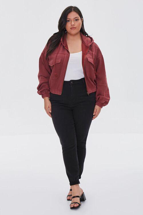 BURGUNDY Plus Size Hooded Flap-Pocket Jacket, image 4