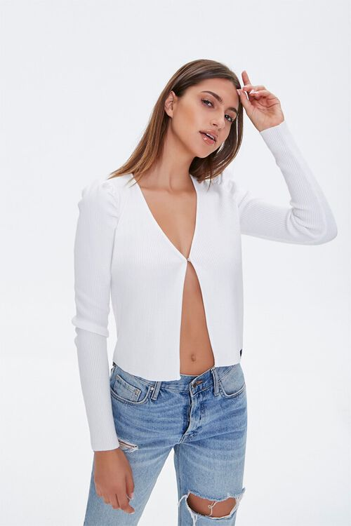 Ruched-Sleeve Cardigan Sweater, image 1