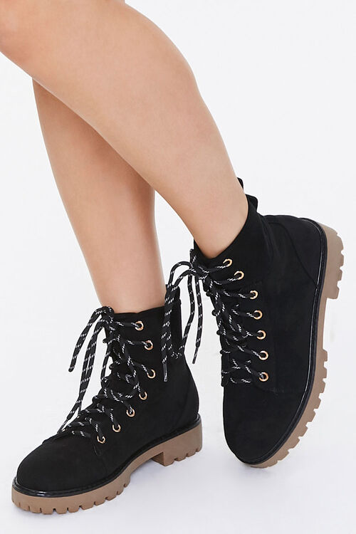 Lace-Up Faux Suede Ankle Booties, image 1