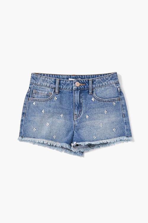 Girls Faux Gem Denim Shorts(Kids), image 1