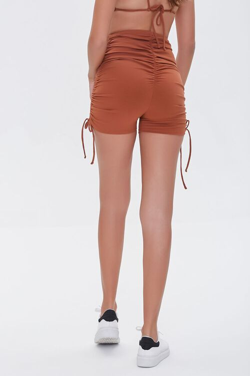 CHOCOLATE Ruched Lace-Up Shorts, image 4