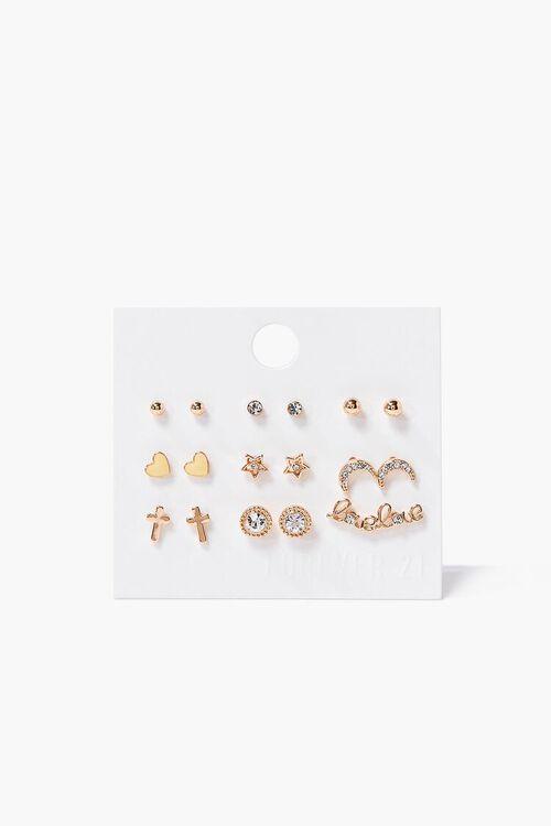 Heart Charm Variety Stud Earring Set, image 1