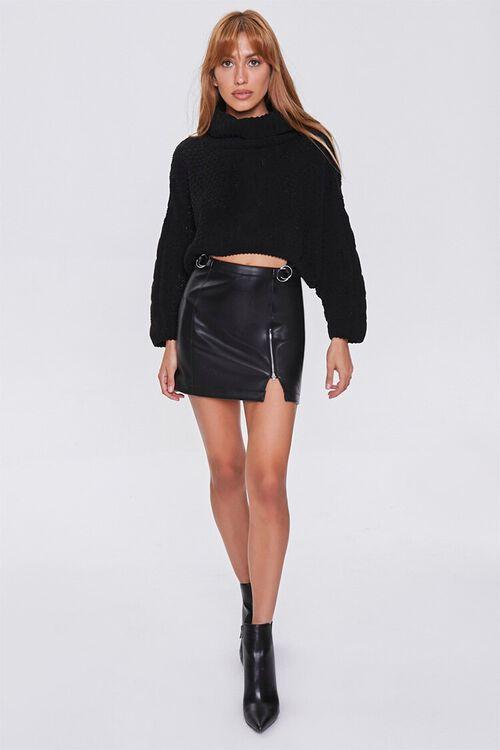 BLACK Faux Leather Mini Skirt, image 5
