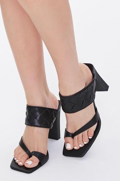 BLACK Basketwoven Toe-Ring Heels, image 1