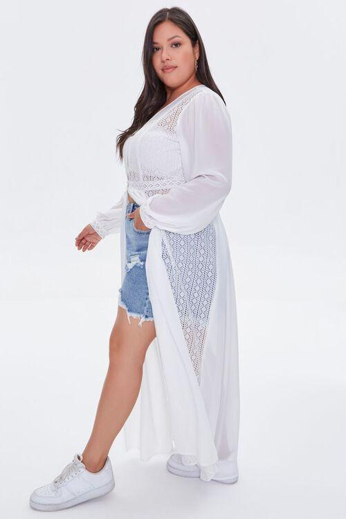 WHITE Plus Size Lace Duster Cardigan, image 3