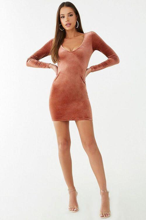 Velvet V-Neck Mini Dress, image 4