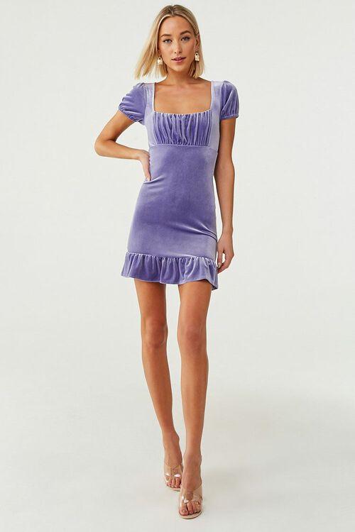 PERIWINKLE Velvet Short Sleeve Mini Dress, image 4