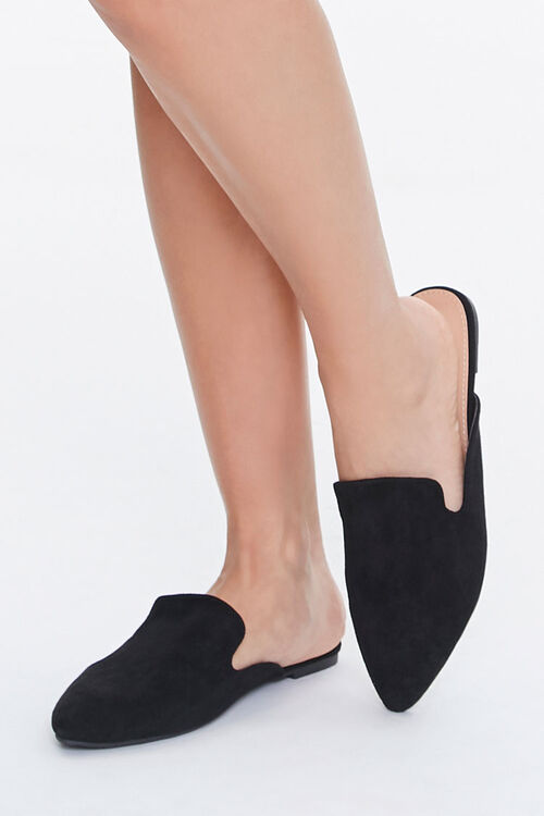 Pointed Faux Suede Mules, image 1