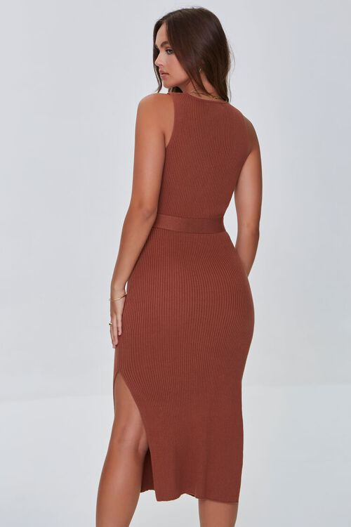 CHOCOLATE Belted Ribbed Bodycon Dress, image 3