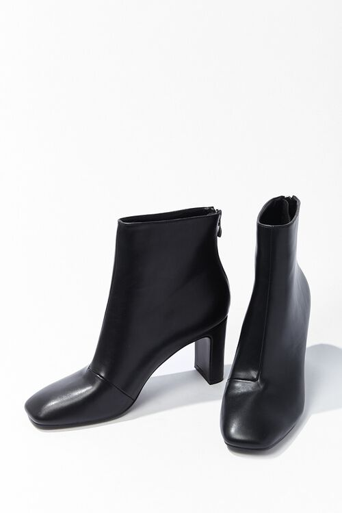 Faux Leather Square Toe Booties, image 3