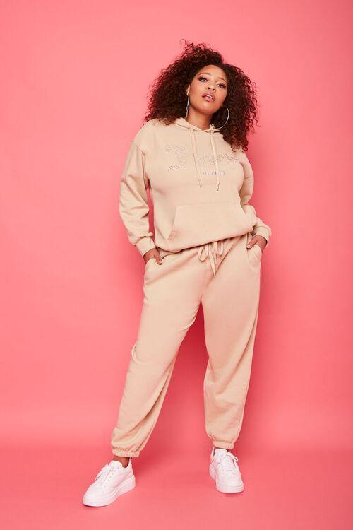 TAN/MULTI Plus Size Juicy Couture Fleece Hoodie, image 4