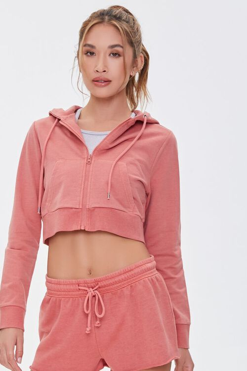 FADED ROSE Active French Terry Zip-Up Jacket, image 1