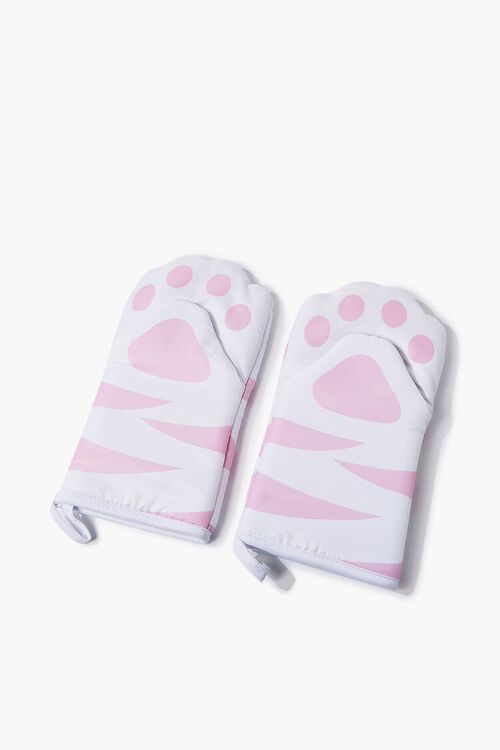 WHITE/PINK Tiger Striped Paw Oven Mitts, image 1