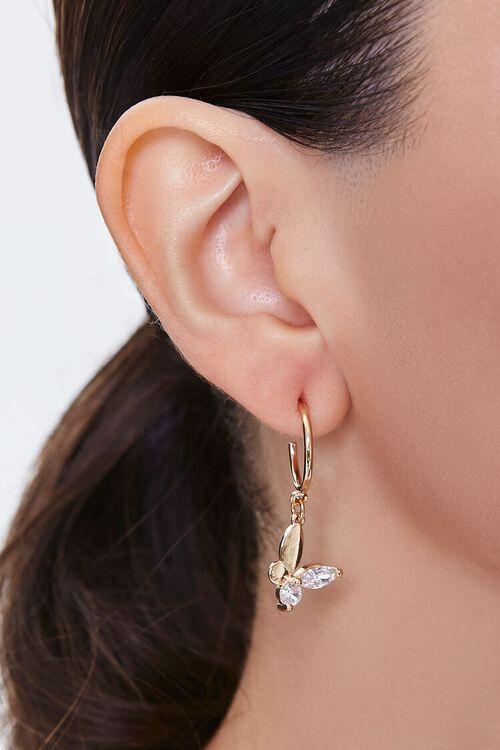 Butterfly Hoop Drop Earrings, image 1