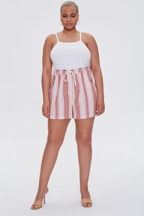 Plus Size Striped Linen-Blend Shorts, image 5