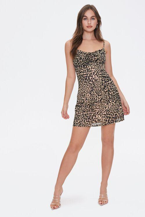 TAN/BLACK Cheetah Print Cowl Dress, image 4