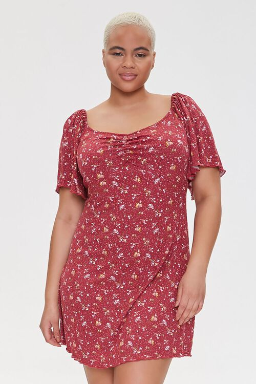 Plus Size Floral Print Mini Dress, image 1