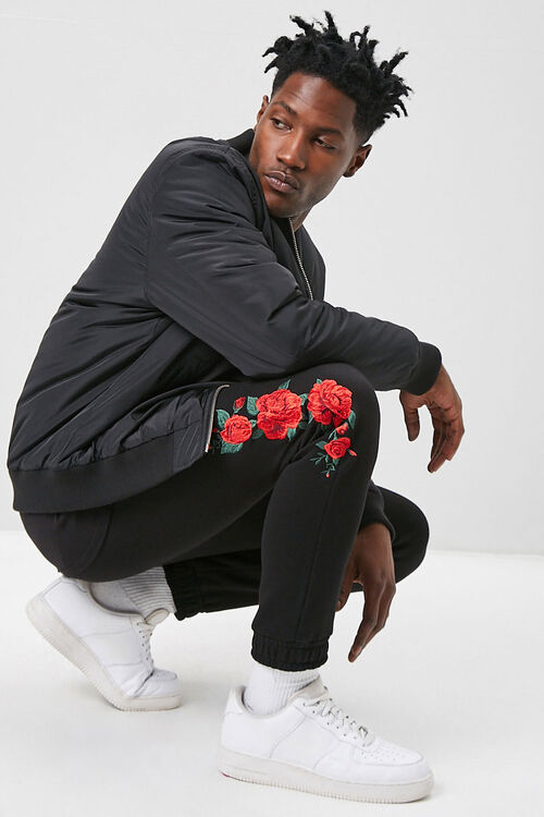 Rose Embroidered Graphic Joggers, image 1