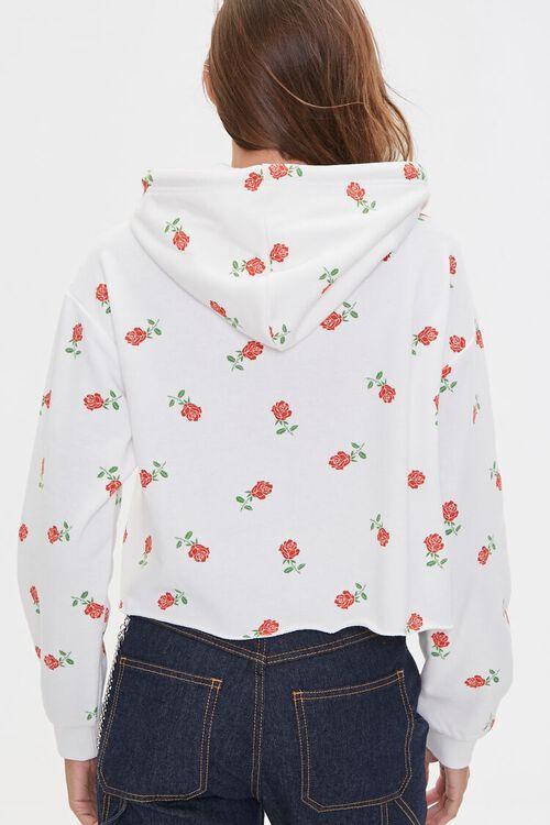 Rose Print Raw-Cut Hoodie, image 3