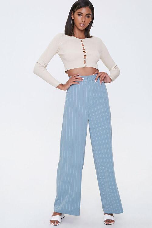 Pinstriped Wide-Leg Pants, image 1
