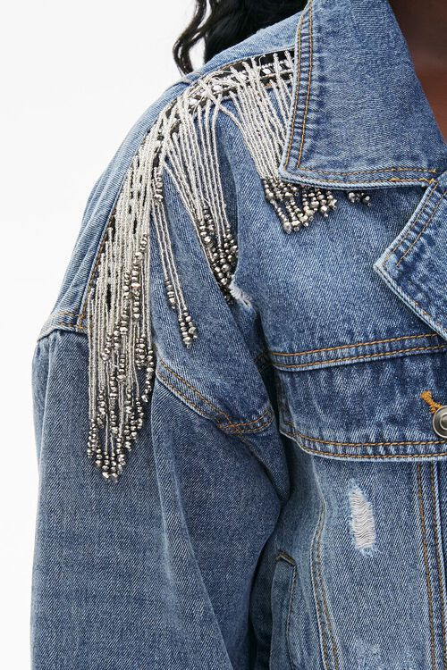 Plus Size Cropped Fringe Denim Jacket, image 6