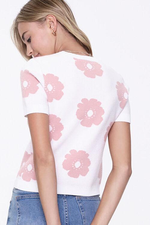 CREAM/MAUVE Floral Sweater-Knit Top, image 3