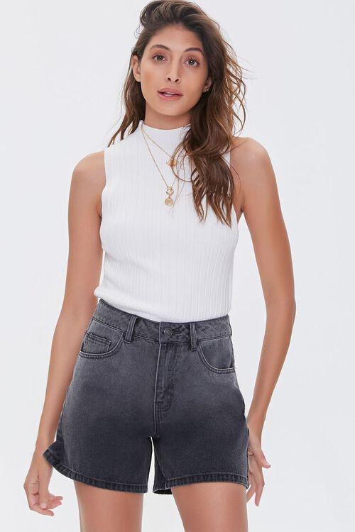 WASHED BLACK High-Rise Denim Shorts, image 1