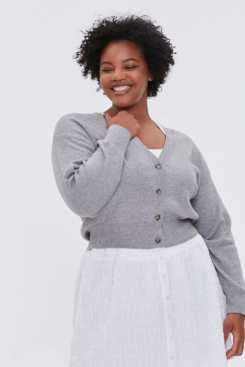 Plus Size Buttoned Cardigan Sweater, image 1