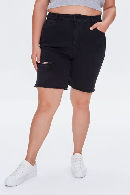 Distressed Denim Bermuda Shorts, image 2