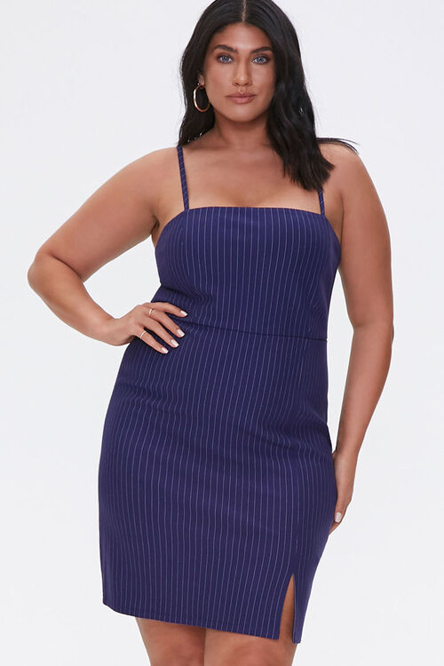NAVY/CREAM Plus Size Pinstriped Mini Dress, image 1