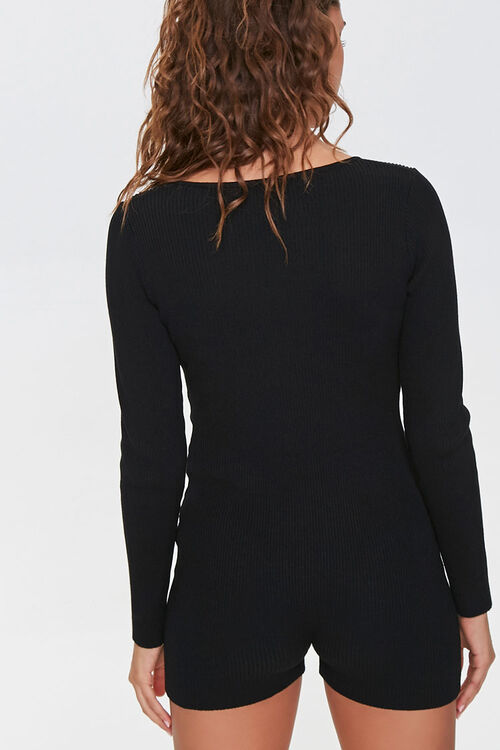 Sweater-Knit Henley Romper, image 3