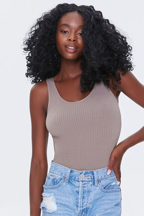 CAPPUCCINO Seamless Ribbed Knit Bodysuit, image 1