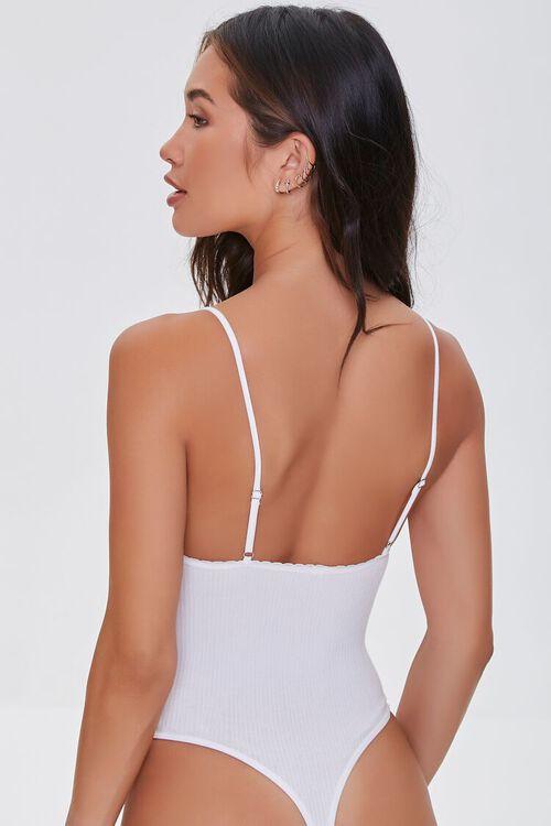 WHITE Seamless Ribbed Cami Bodysuit, image 3