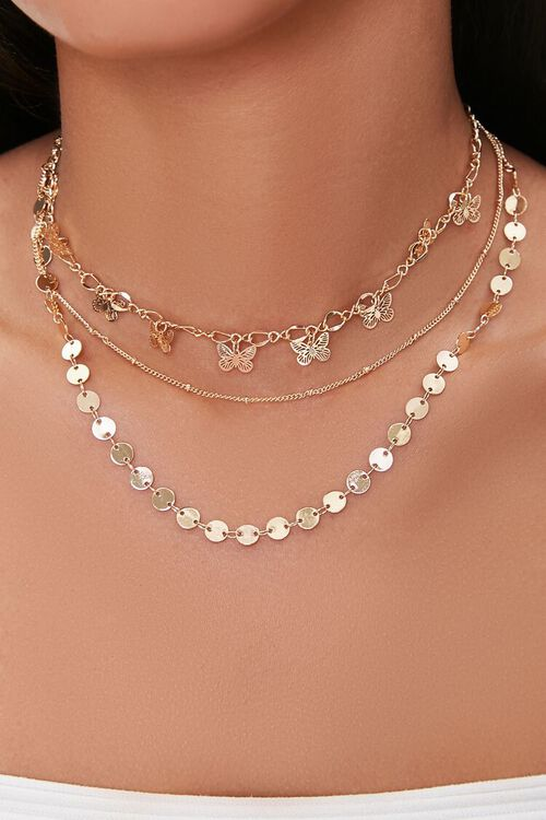 Butterfly Charm Layered Choker Necklace, image 1
