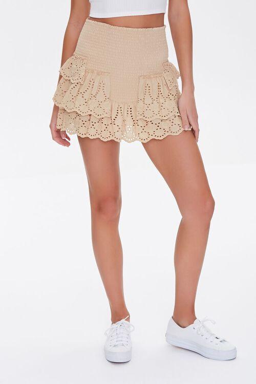 Smocked Flounce Mini Skirt, image 2