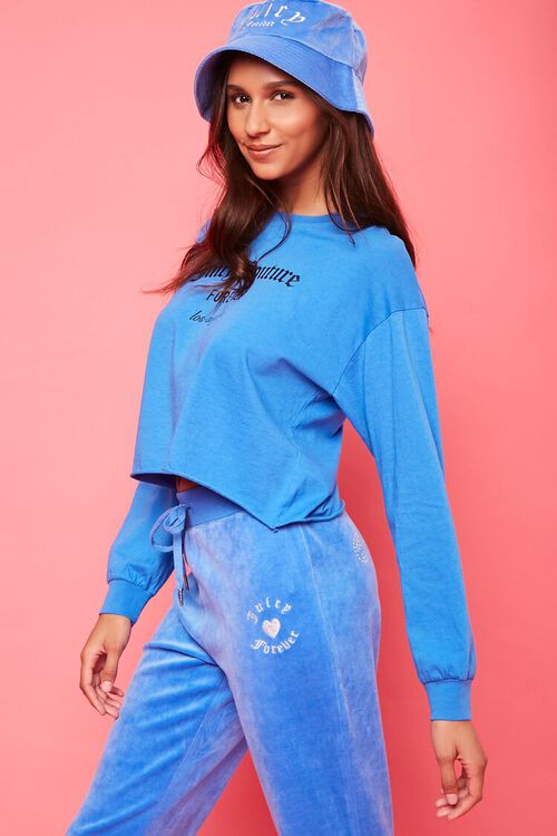 BLUE/SILVER Rhinestone Juicy Couture Velour Joggers, image 5